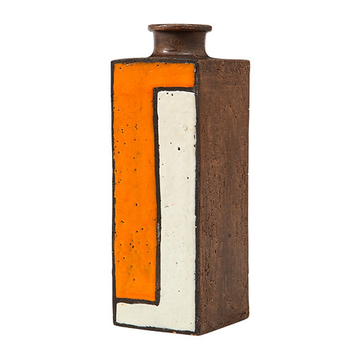 Bitossi Vase, Ceramic Mondrian, Orange White Geometric, Signed