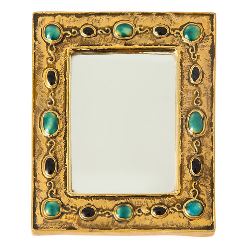 Francois Lembo Ceramic Mirror Jeweled Jade Gold Black Signed France, 1970s