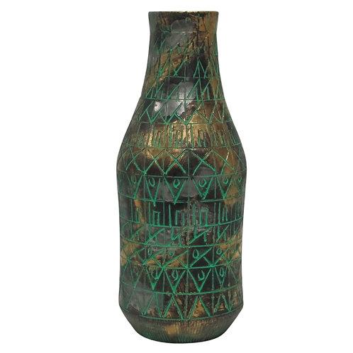 Raymor Vase, Ceramic, Sgraffito, Green, Gold, Chrome, Signed