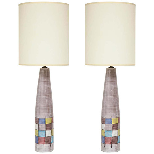 Ettore Sottsass Bitossi for Raymor Lamps, Ceramic, Patchwork, Signed