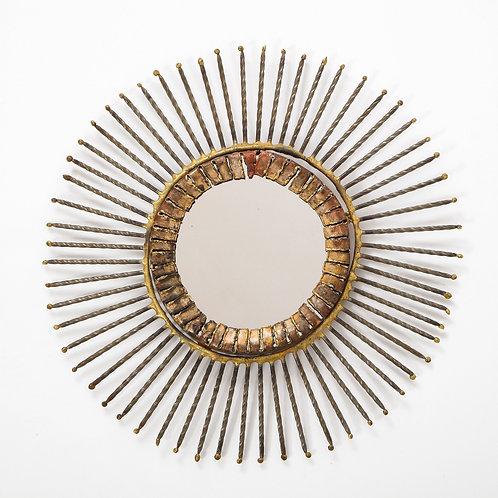 C. Jere Mirror, Bronze Sunburst, Signed