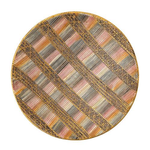 Aldo Londi Bitossi Seta Bowl, Ceramic, Pink, Gold and Blue, Signed
