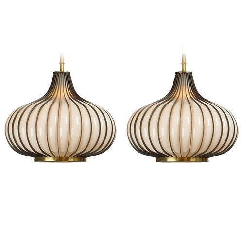 Onion Pendant Lamps, Glass and Brass