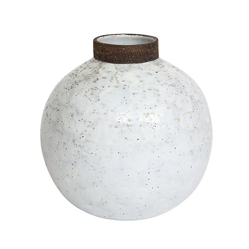 Bitossi Vase, Ceramic White and Brown, Signed