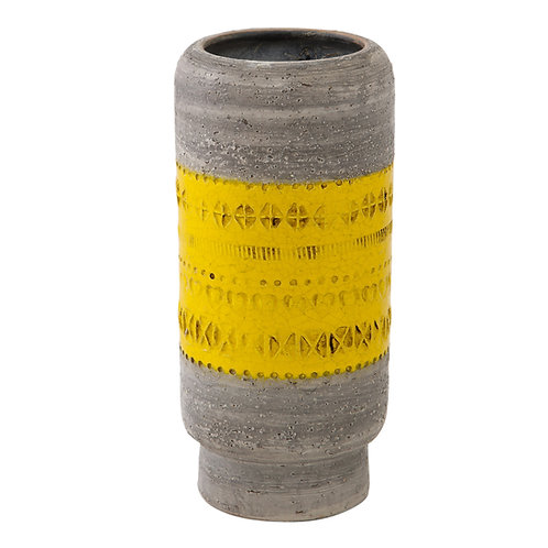 Aldo Londi Bitossi Vase, Ceramic, Gray and Yellow, Signed
