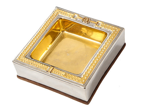 Gucci Tray, Porcelain and Suede, Gold and Chrome Silver, Signed