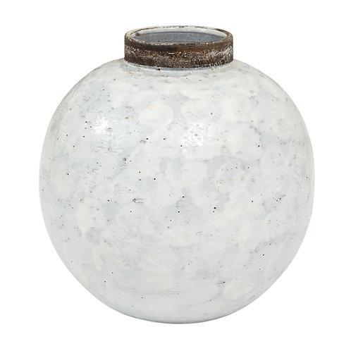 Bitossi Raymor Ceramic Vase White Brown Round Pottery Signed, Italy, 1960s