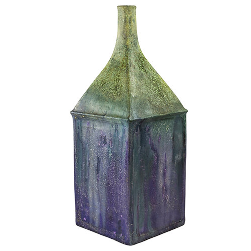 Fantoni for Raymor Vase, Ceramic, Purple and Green, Signed