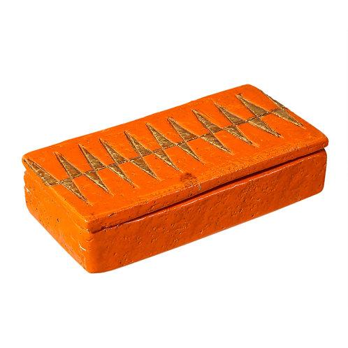 Aldo Londi Bitossi Box, Ceramic, Orange and Gold, Geometric, Signed