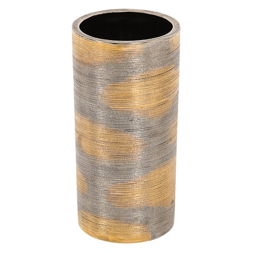 Bitossi Raymor Ceramic Vase Brushed Metallic Gold Chrome Signed, Italy, 1960s