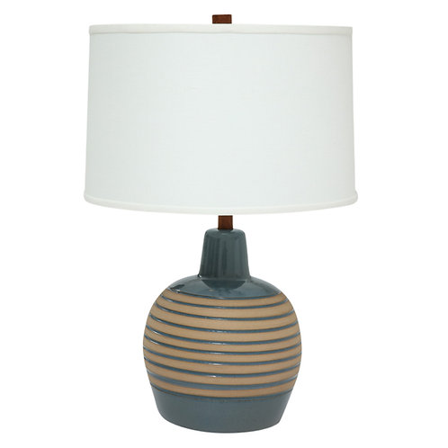 Martz Ceramic Lamp, Blue and Tan, Teak, Signed