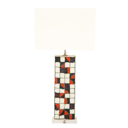 Guido Gambone Lamp, Ceramic, Geometric, Red and Black, Signed