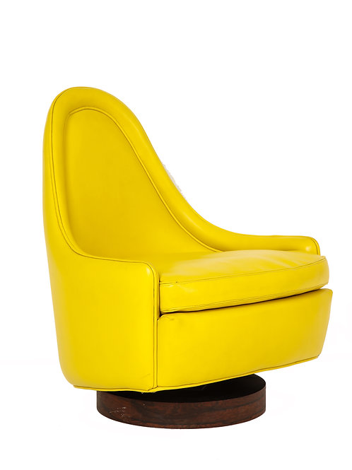 Milo Baughman Lounge Chair Petite Yellow Signed