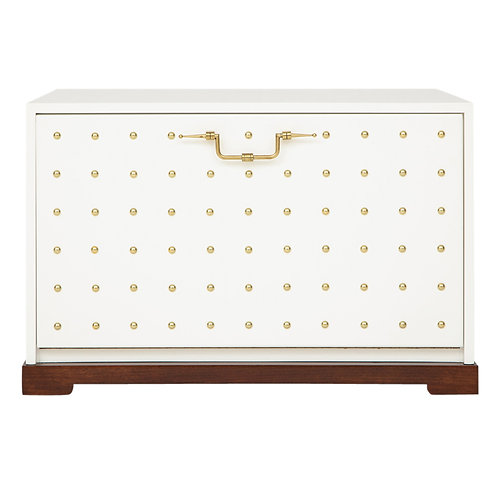 Tommi Parzinger Cabinet White Brass Studded Drop-Front