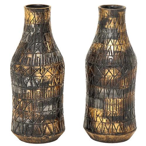 Raymor Vases, Ceramic, Gold, Silver, Gunmetal, Signed
