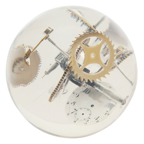 Acrylic Sphere Sculpture Incased Watch Parts Resin, France, 1970s