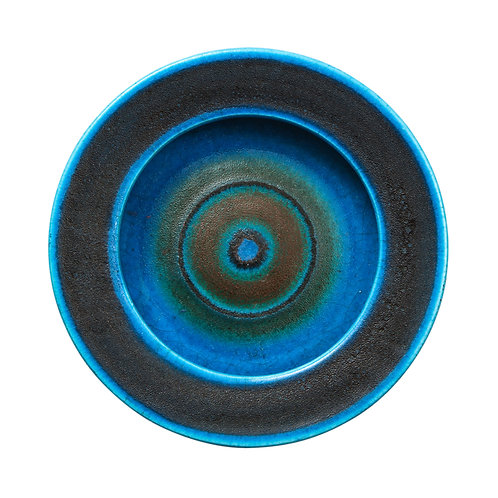 Guido Gambone Bowl, Ceramic, Bullseye, Blue Stripes, Signed