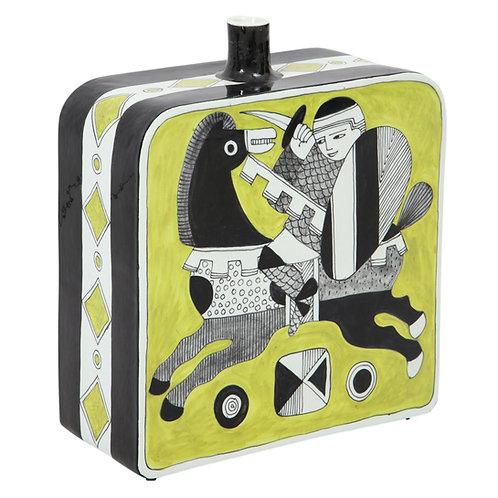 Diodoro Cossa Vase, Ceramic, Chartreuse and Black, Signed