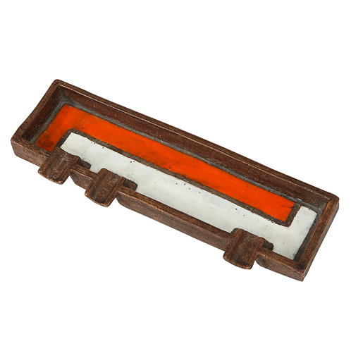 Raymor Bitossi Ashtray, Mondrian Orange, Brown and White, Signed