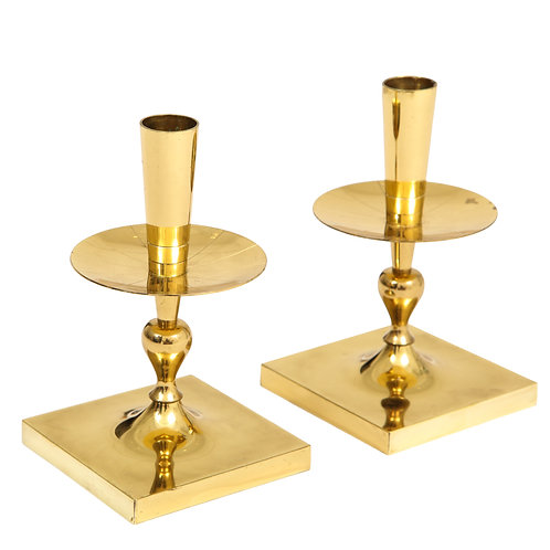 Tommi Parzinger Candlesticks Brass Signed