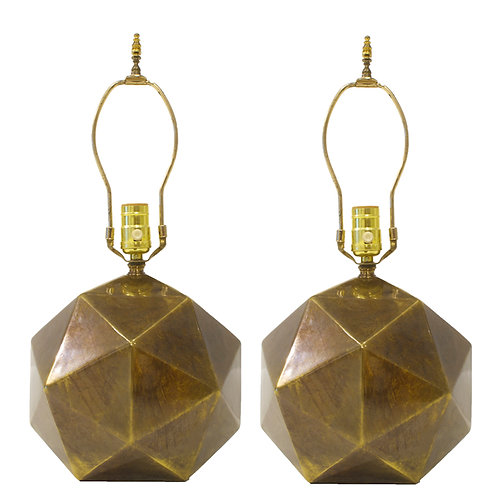 Westwood Industries Faceted Bronze Toned Table Lamp-Pair