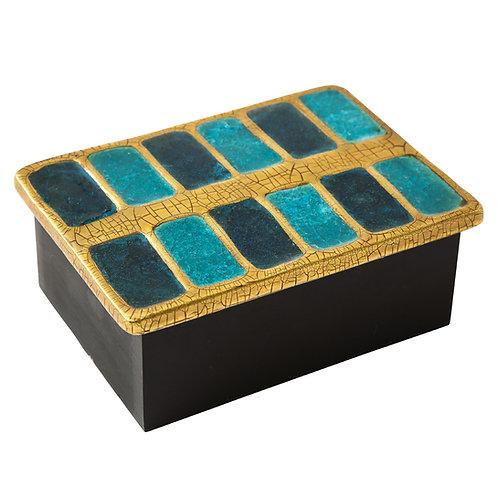 Francois Lembo Box, Ceramic, Gold and Blue Fused Glass