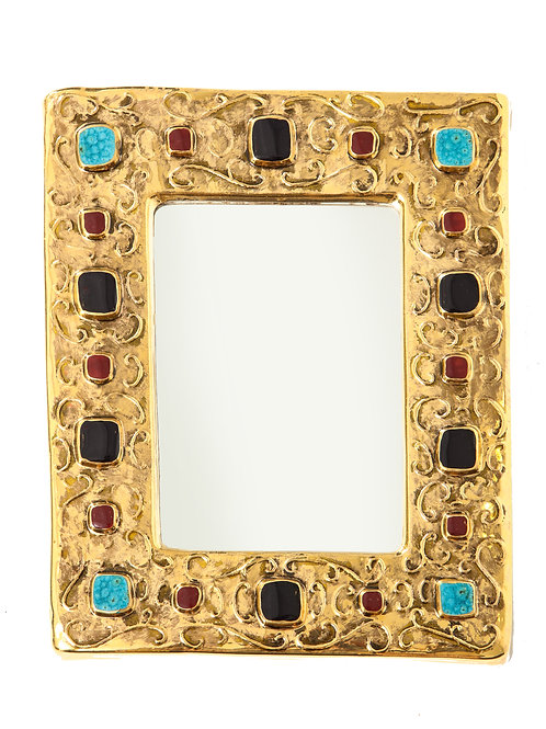 Lembo Ceramic Mirror Gold Jeweled Signed Turquoise Black Red, France, 1970s