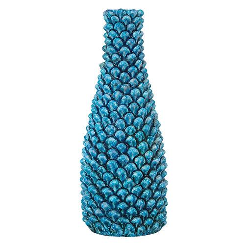 Fantoni Vase, Ceramic, Blue, Pinecone, Signed