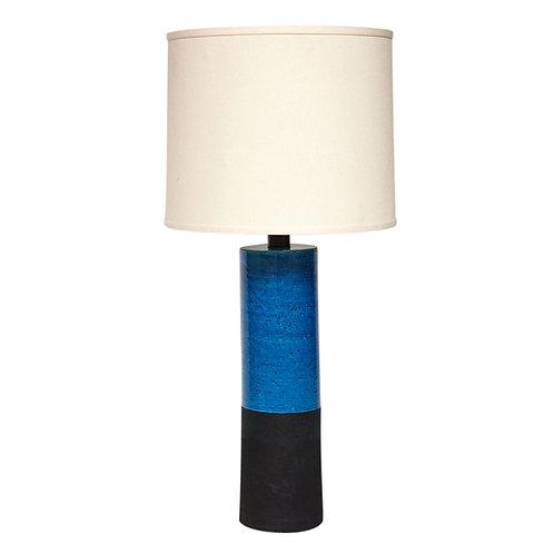 Bitossi Lamp, Ceramic, Blue and Black, Cylinder, Signed