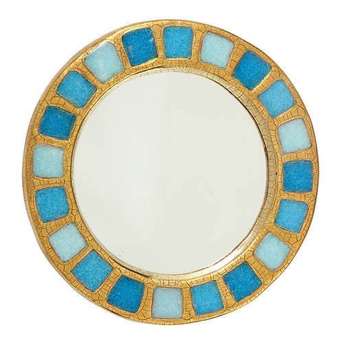 François Lembo Mirror, Ceramic, Gold and Blue Fused Glass
