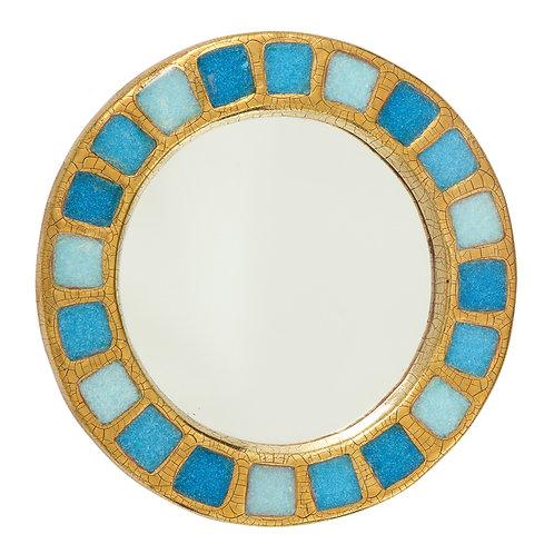 Mithé Espelt Mirror, Ceramic, Gold and Blue Fused Glass