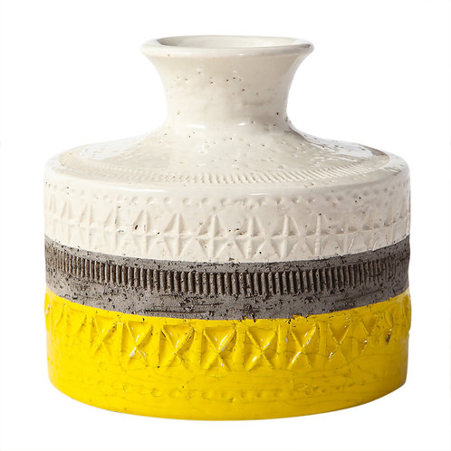 Bitossi Vase, Ceramic, Yellow and White