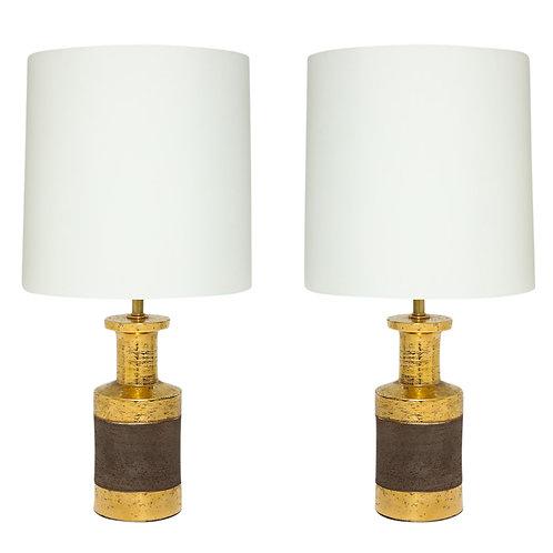 Bitossi Lamps, Ceramic, Gold and Matte Brown