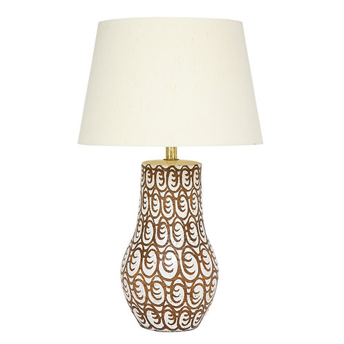Zaccagnini Lamp, Ceramic, Brown and White, Signed