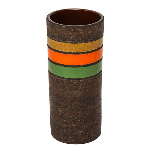 Bitossi Vase, Ceramic Stripes, Brown Yellow Orange Green