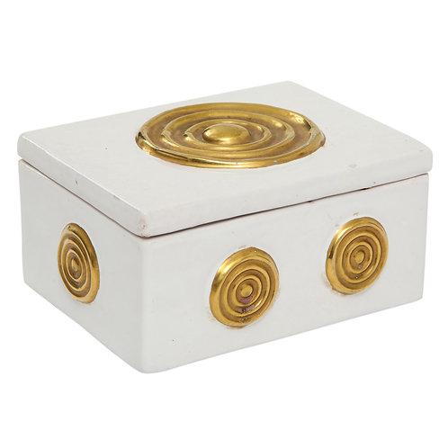 Zaccagnini Box, Ceramic, White and Gold, Signed
