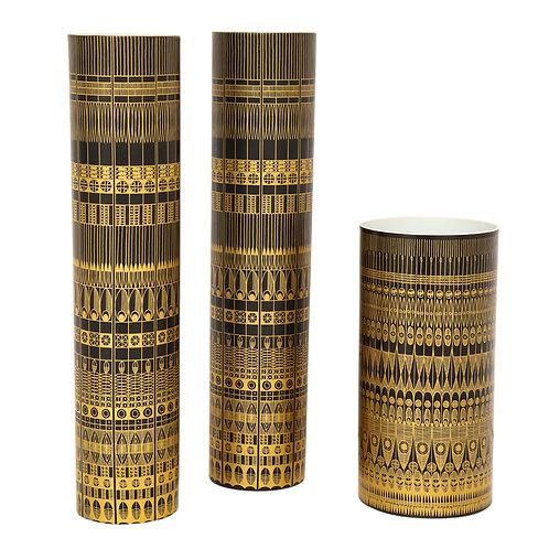 Hans Theo Baumann Rosenthal Vases, Porcelain, Gold & Black, Geometric, Signed