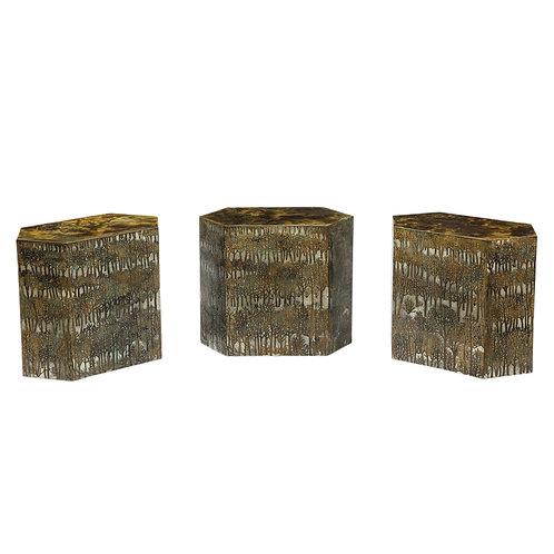 Philip & Kelvin Laverne Side Tables, Bronze Eternal Forest, Signed