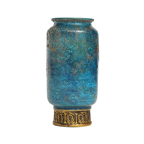 Rosenthal Netter Bitossi Vase, Ceramic, Blue Gold, Cinese, Signed