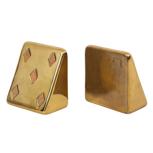 Ben Seibel Brass Bookends Jenfred-Ware Playing Cards Five of Diamonds Signed
