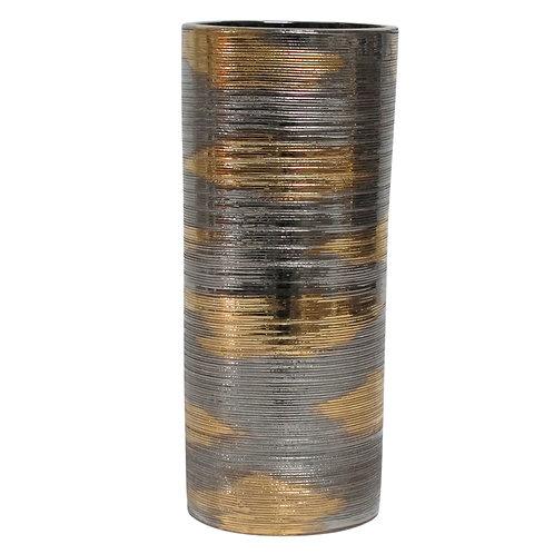 Bitossi Vase, Ceramic, Brushed Metallic Gold and Platinum Chrome