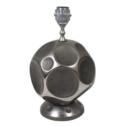 Zaccagnini Lamp, Ceramic Dimpled Matte Chrome, Signed