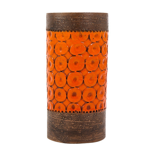 Bitossi Vase, Ceramic, Orange and Brown, Signed