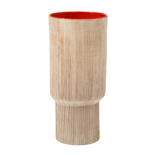 Bitossi Vase, Ceramic Sgraffito Orange, Signed