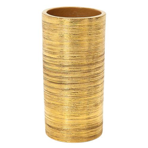 Bitossi Gold Ceramic Vase Berkeley House Brushed Signed, Italy, 1960s
