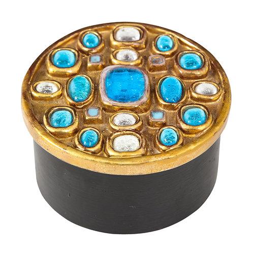 Francois Lembo Box, Ceramic, Gold and Turquoise