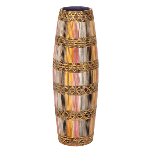 Aldo Londi Bitossi Seta Vase, Ceramic, Pink, Gold and Blue, Signed