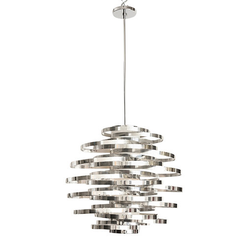 Cyclone Chandelier, Aluminum, Chrome Bands