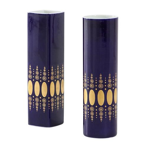 Heinrich Porcelain Vases Cobalt Blue Gold Signed, Germany, 1960s