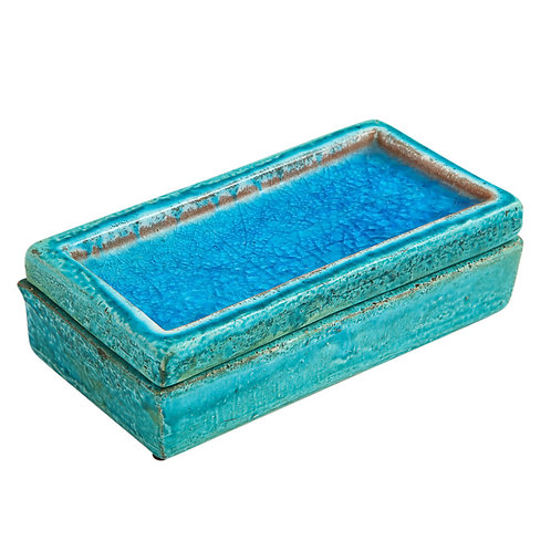 Bitossi Box, Ceramic Blue Fused Glass Signed